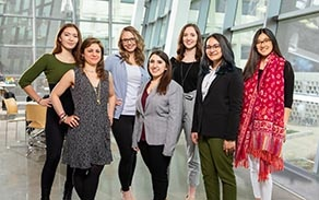 UB's 2019-20 Fulbright Award recipients and alternates photographed in Davis Hall in April 2019. From left, Jenny Simon, Stanzi Vaubel, Paige Melin, Ashley Cercone, Mariangela Perrella, Hanna Santanam and Madeline Elminowski.