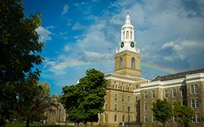 Rainbow over Hayes Hall on UB's South Campus.