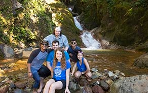 John Atkinson's Environmental Engineering class in Costa Rica at aLas Hornillas Mud Pits and Waterfalls.